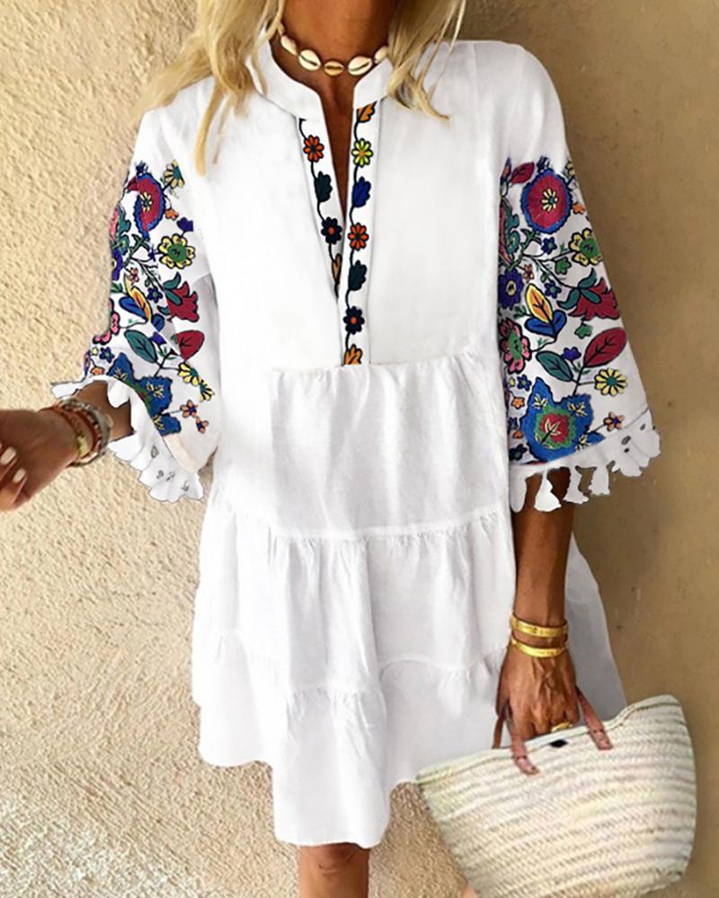 Floral Print Tassel Design Casual Dress