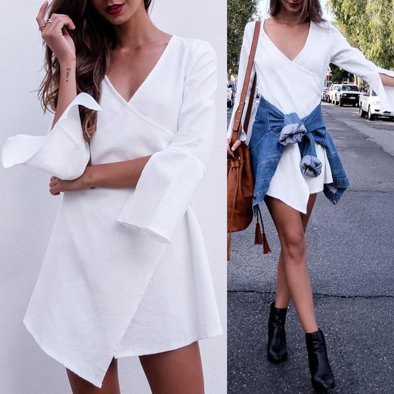Women Back Zipper Clousre Long Mandarin Sleeve Shirt Women Shirt Dress White Blouse thumbnail