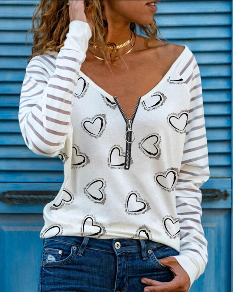 Heart Print Zipper Design Sheer Mesh Long Sleeve Tee