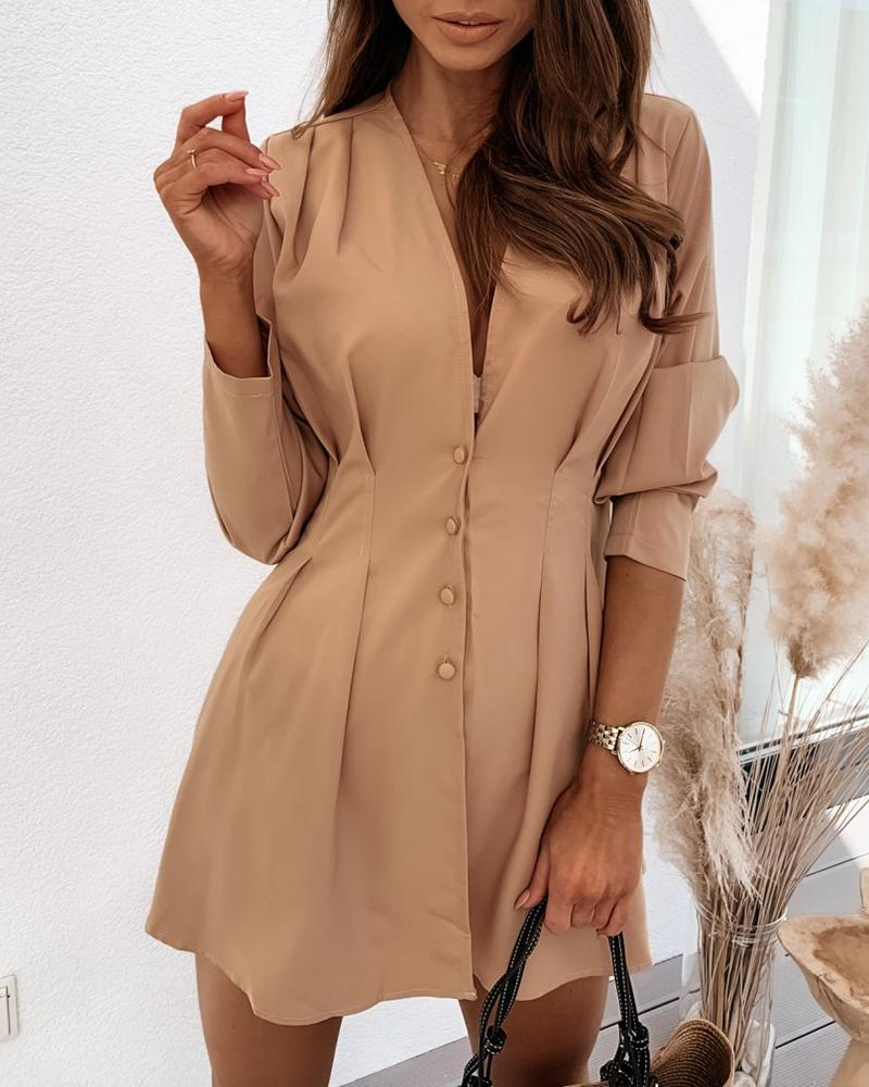 Button Design Ruched Long Sleeve Dress thumbnail