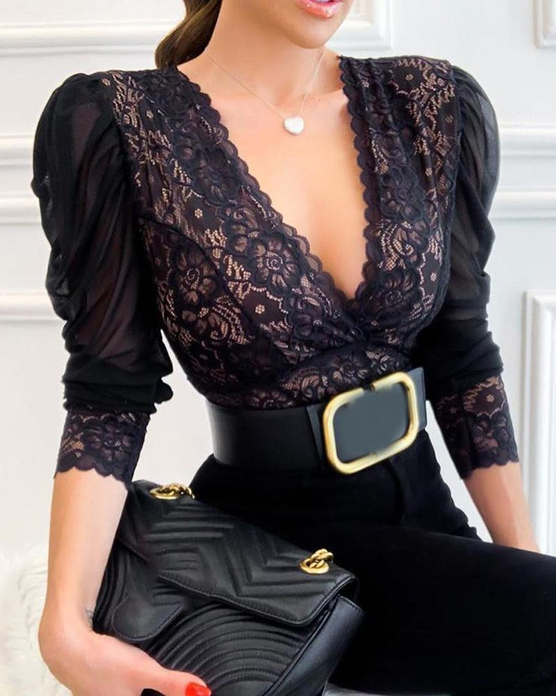 Crochet Lace Ruched Long Sleeve Top