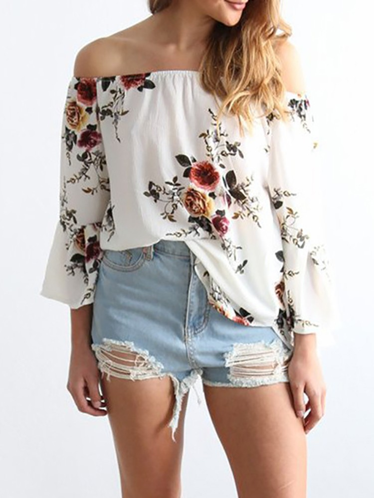 Sexy Off Shoulder Trumpet Sleeves Floral Blouse