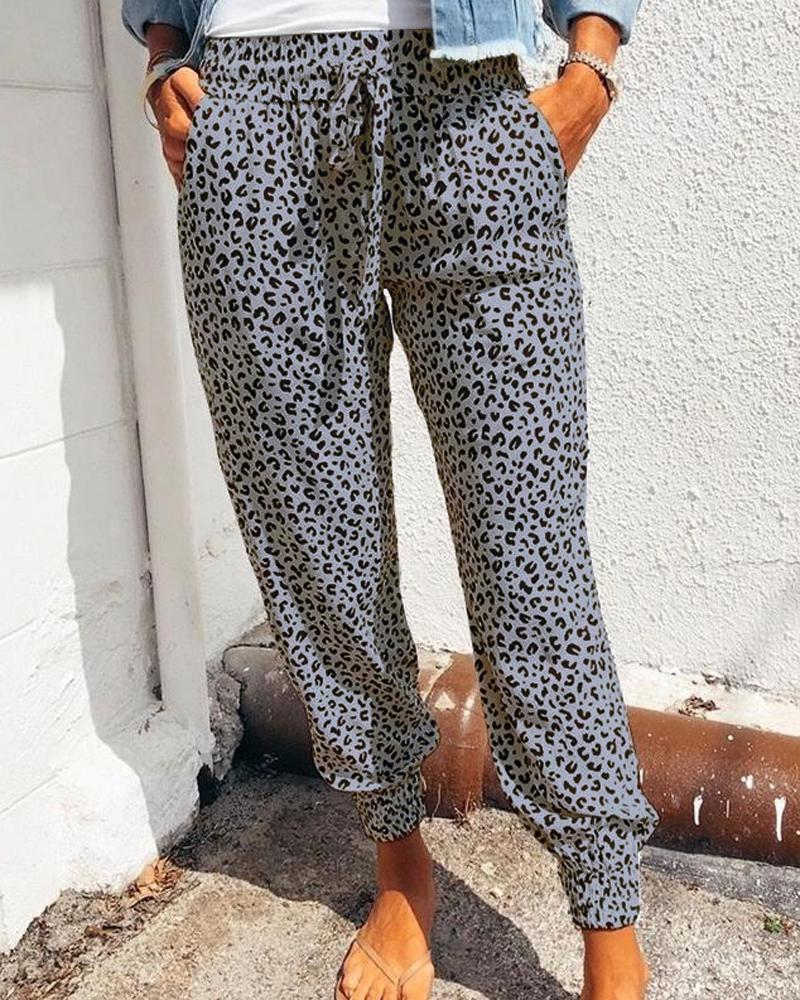 High Waist Leopard Print Drawstring Pants thumbnail