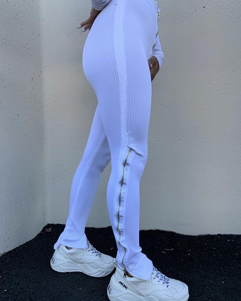 Zipper Design High Waist Slit Skinny Pants thumbnail