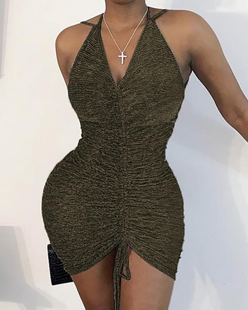 Glitter Halter Ruched Backless Bodycon Dress thumbnail