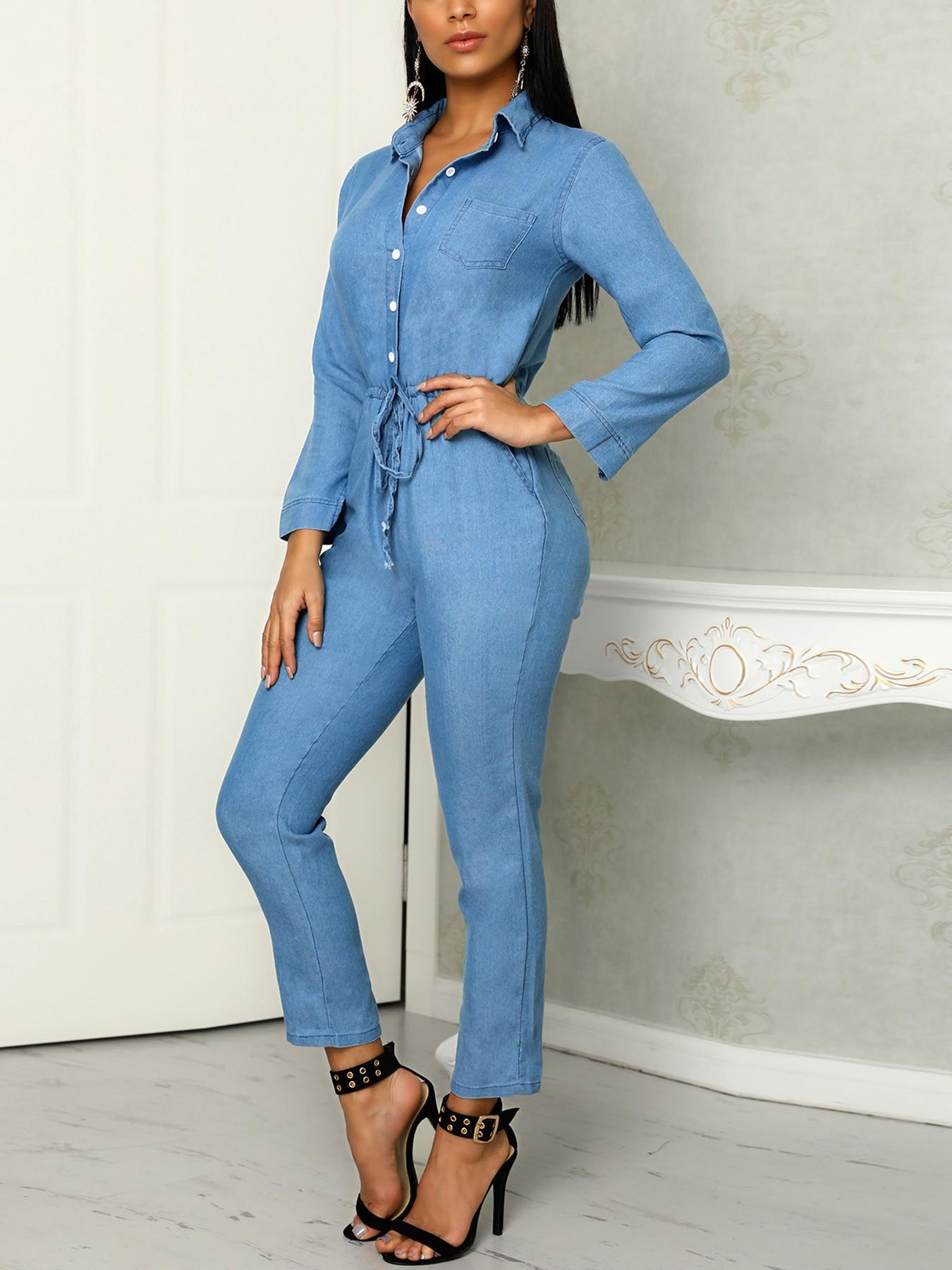 boutiquefeel / Denim Long Sleeve Pocket Drawstring Jumpsuit