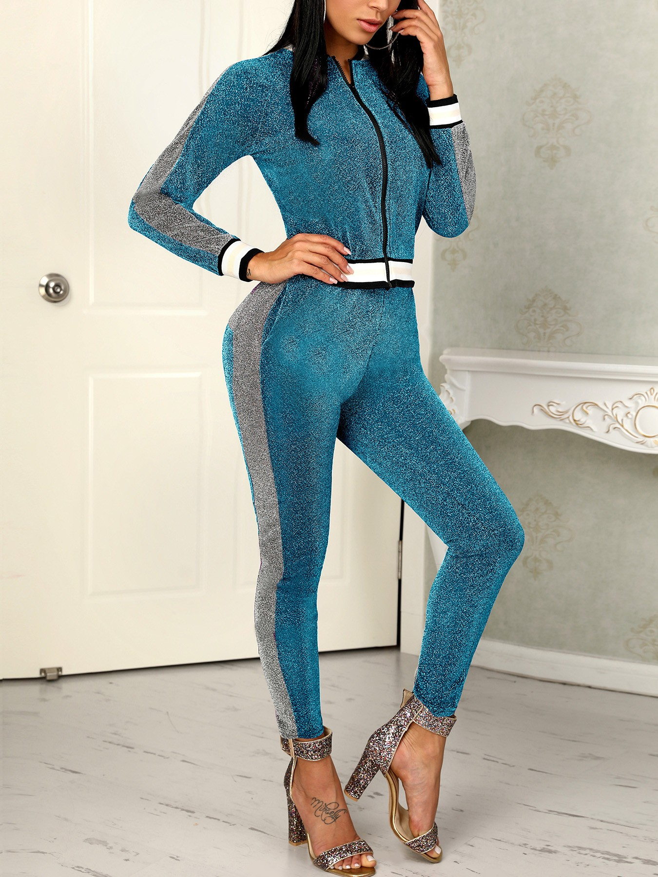boutiquefeel / Shiny Striped Tape Zipper Up Top & Slinky Pant Sets