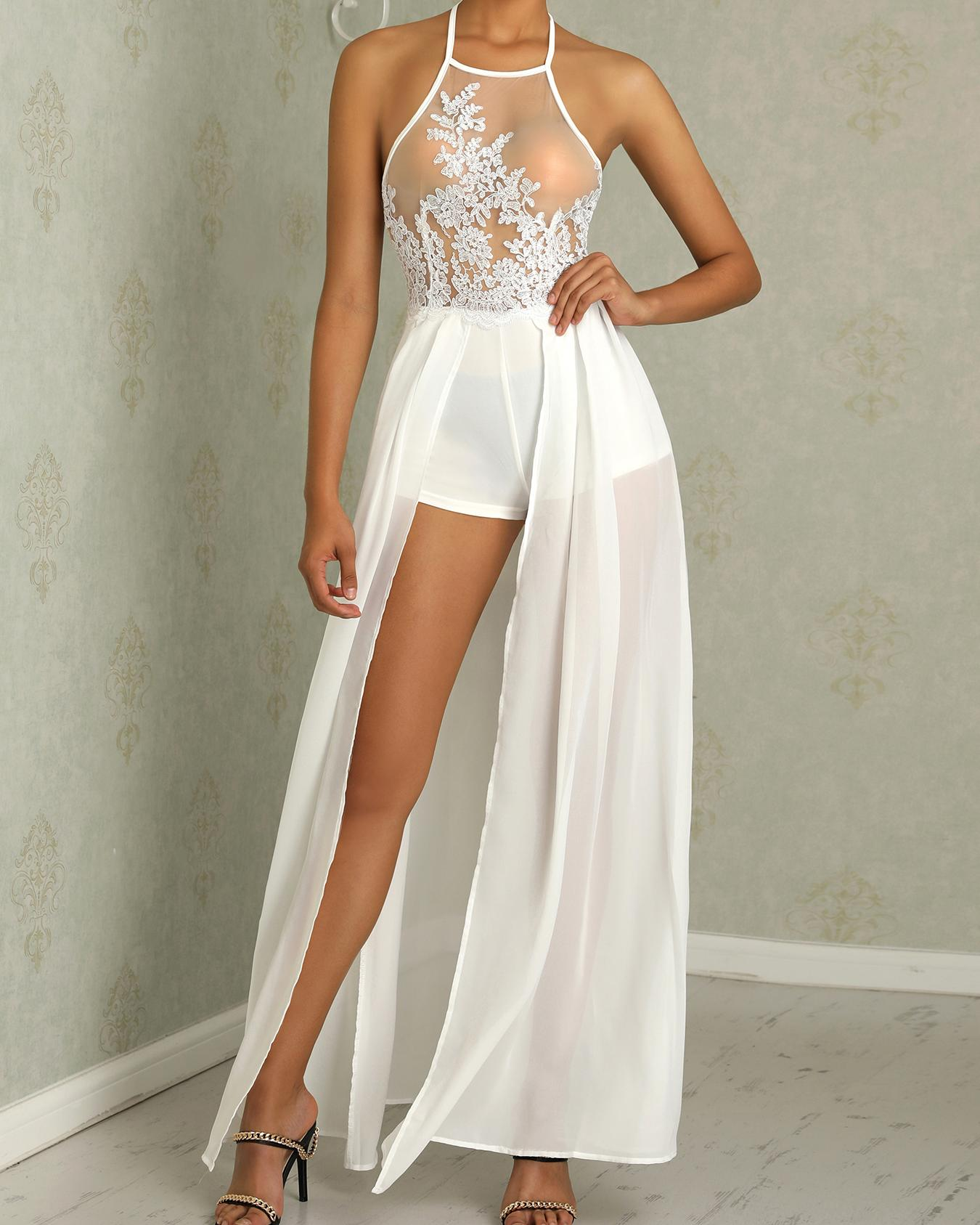 Sexy Sheer Mesh Lace Applique Maxi Romper Dress Online. Discover hottest  trend fashion at chicme.com 25c1f809d