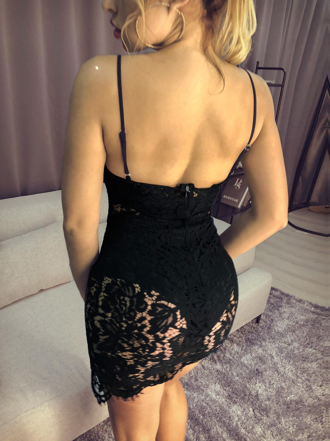 boutiquefeel / Eyelash Lace Crochet Side Slit Bodycon Dress