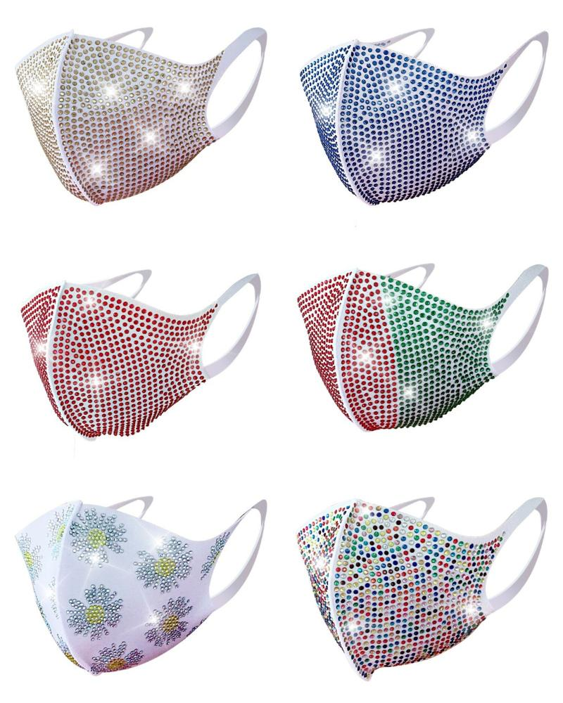 Daisy Pattern Colorblock Bling Rhinestone Face Mask thumbnail