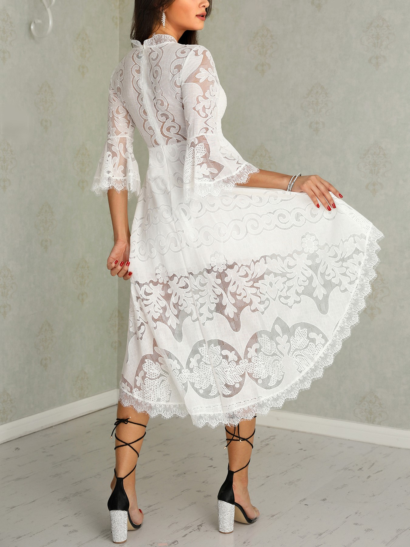 boutiquefeel / Lace Eyelash Flared Sleeve Dip Hem Dress