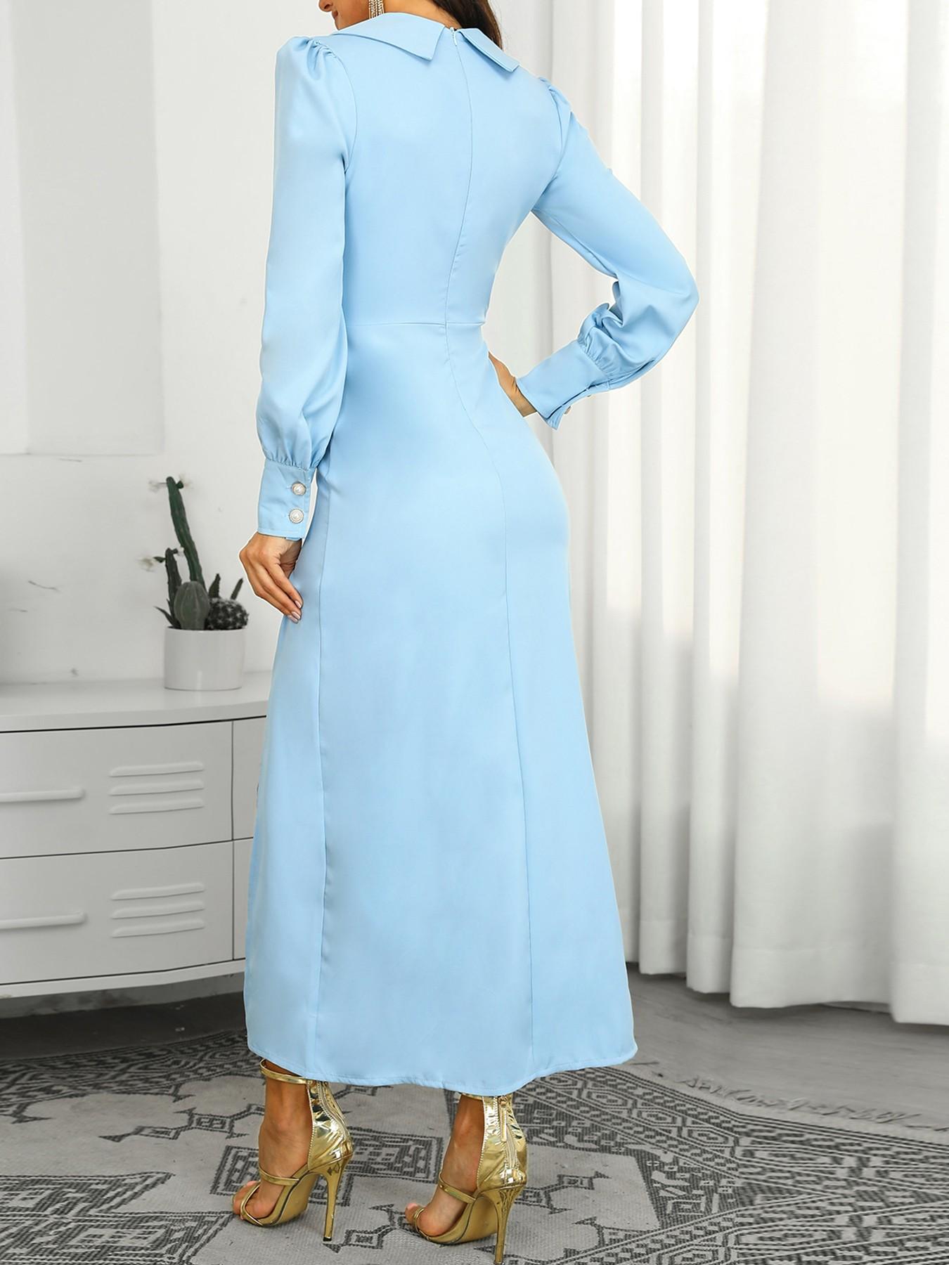boutiquefeel / Button Detail Thigh Slit Blazer Dress