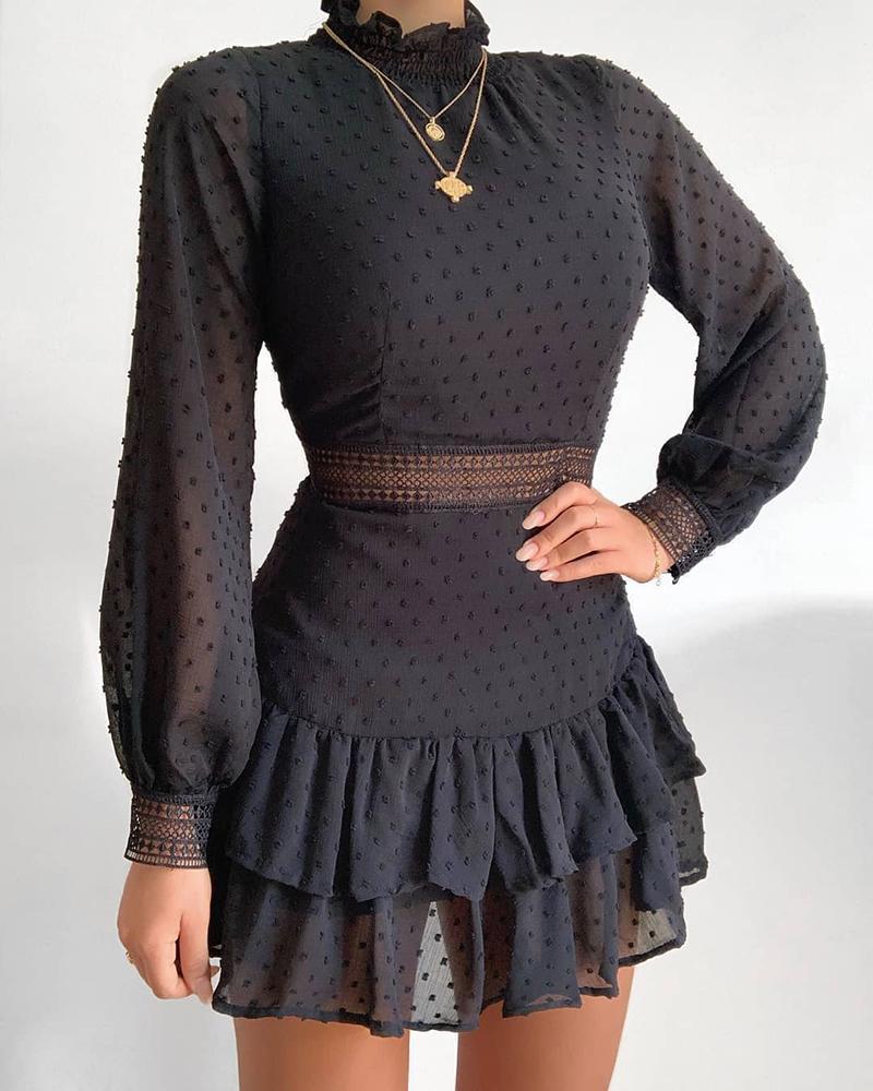 Swiss Dot Guipure Lace Lantern Sleeve Ruffles Dress thumbnail
