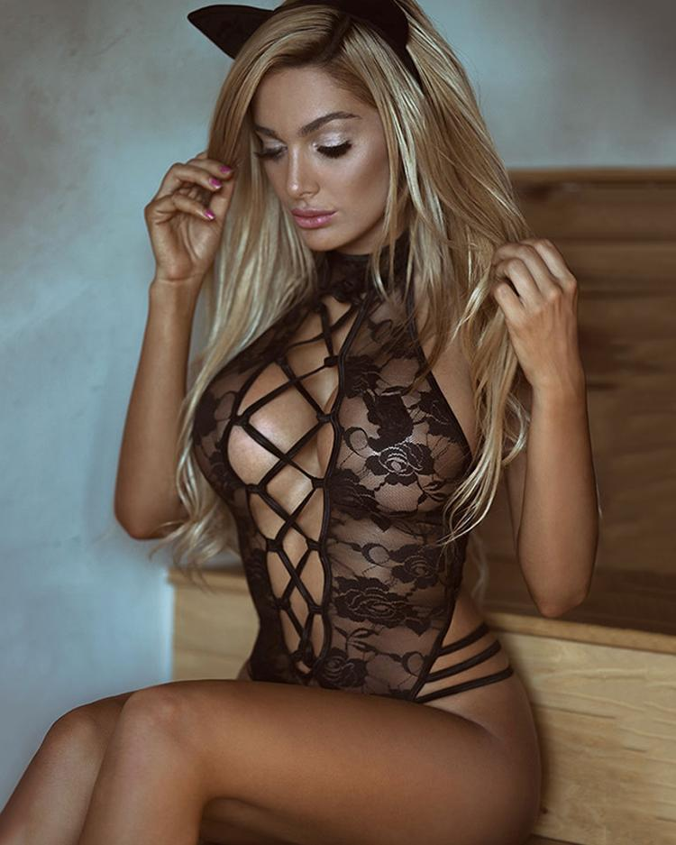 Ivrose coupon: Caged Sheer Lace Cutout Lingerie Costumes
