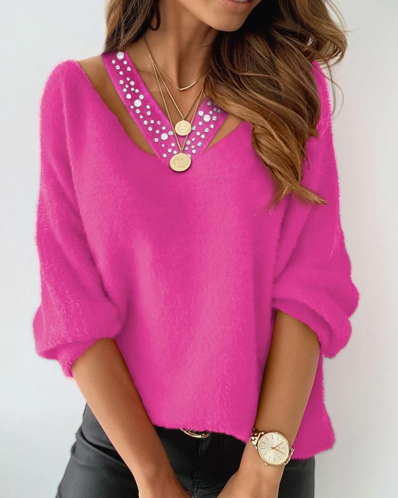 Studded Cutout Long Sleeve Fluffy Sweater