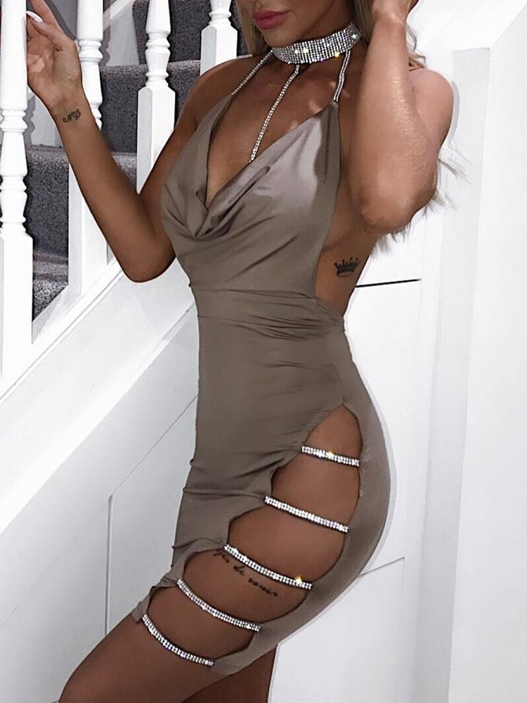 Sequins Ladder Cutout Open Back Bodycon Dress