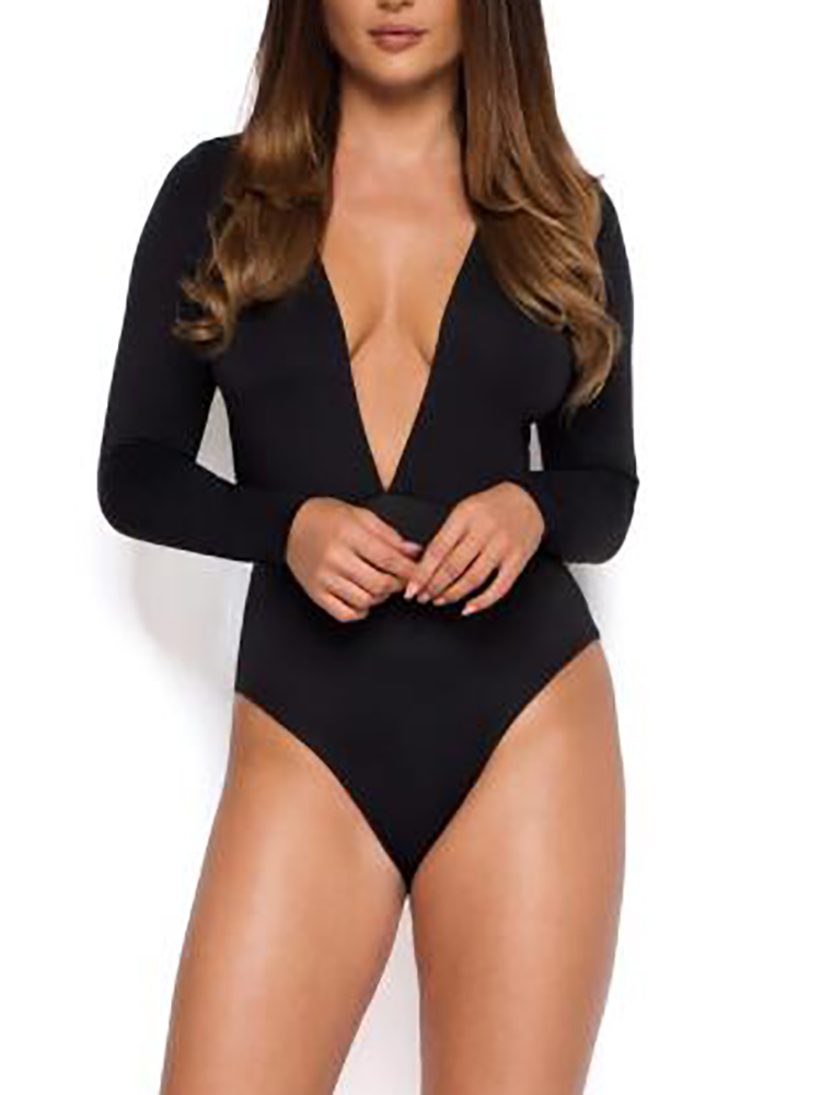 boutiquefeel / Women Long Sleeve Deep V Neck Romper