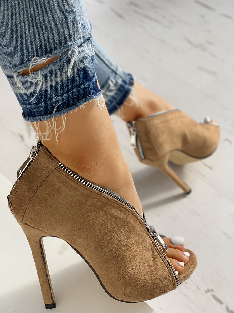 boutiquefeel / Suede Zipper Design Peep Toe Heeled Boots