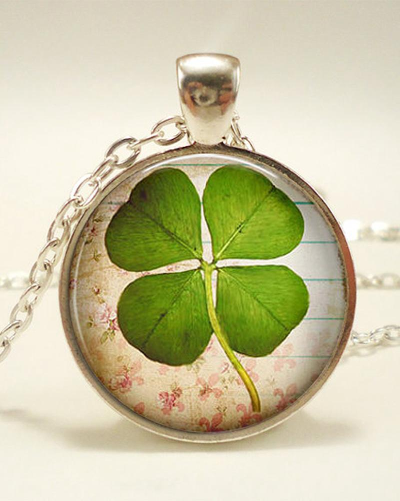 St.Patrick's Day Four Leaf Clover Clear Resin Pendant Necklace
