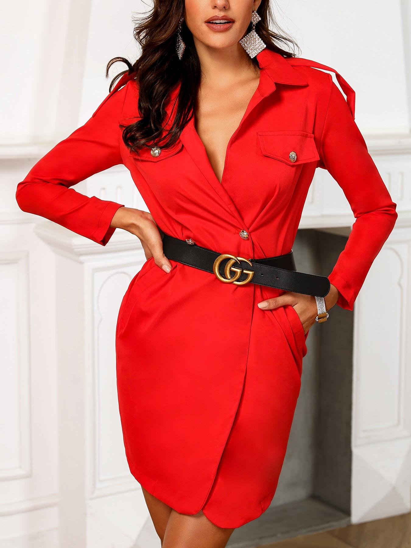 boutiquefeel / Deep V-Neck Irregular Blazer Dress