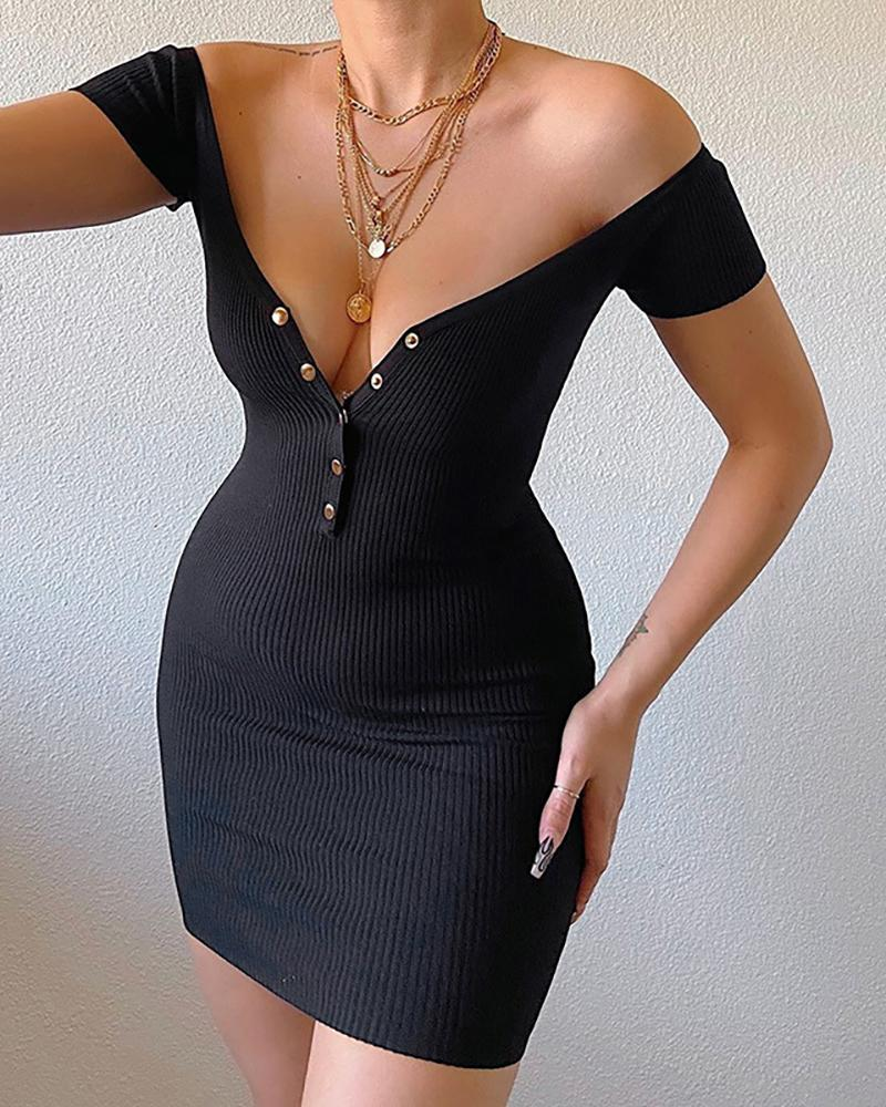 Off Shoulder Button Design Knitted Bodycon Dress thumbnail