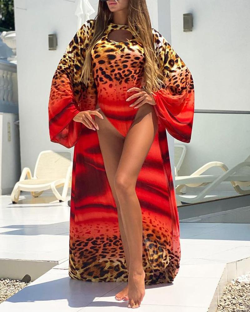 Cheetah Print Cutout One-Piece Swimsuit & Longline Cover Ups Set