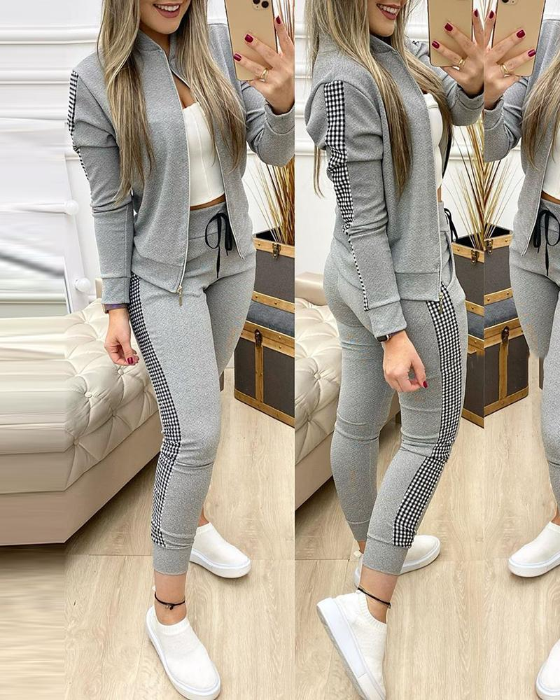 Contrast Plaid Jacket & Drawstring Pants Set thumbnail