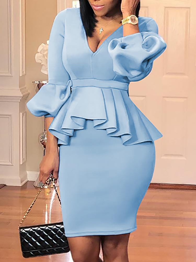 Lantern Sleeve Ruffles Design Top & Skirt Sets