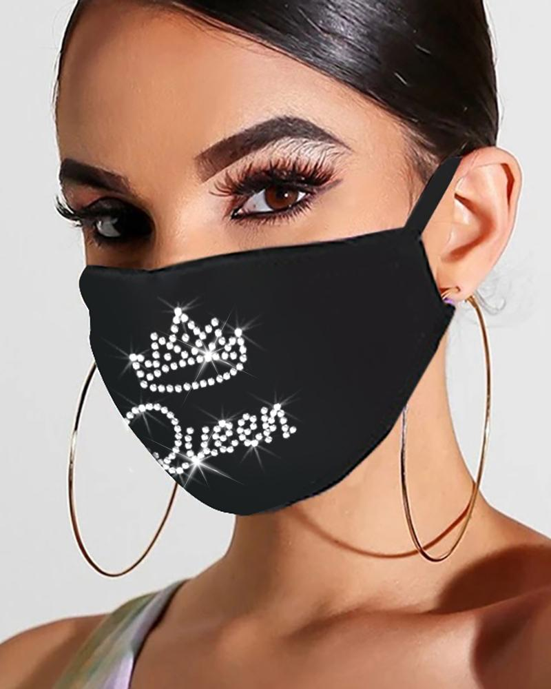 Flag Letter Floral Pattern Studded Bling Rhinestone Face Mask thumbnail