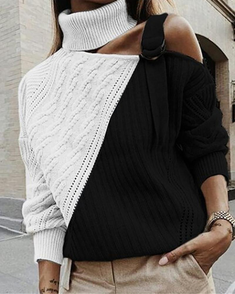 One Shoulder Colorblock Cut Out Knit Sweater thumbnail