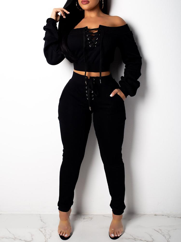boutiquefeel / Lace-Up Design Off Shoulder Sweatshirt  & Pant Sets