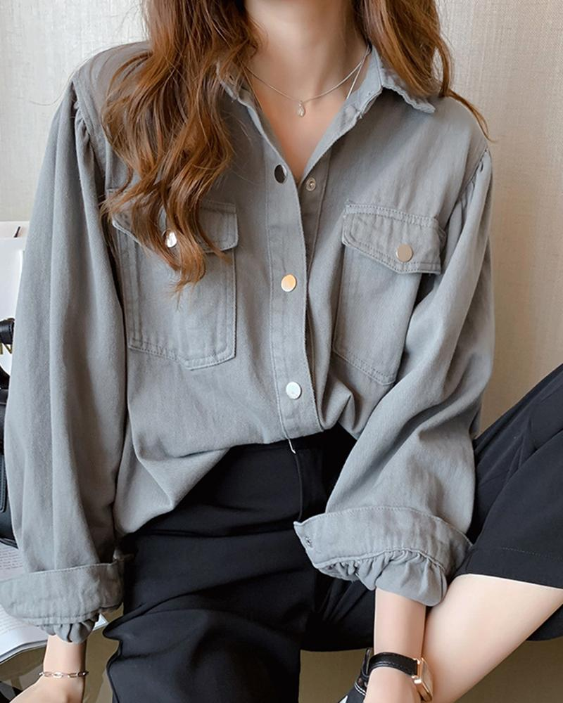 Brief Solid Button-up Casual Shirt thumbnail