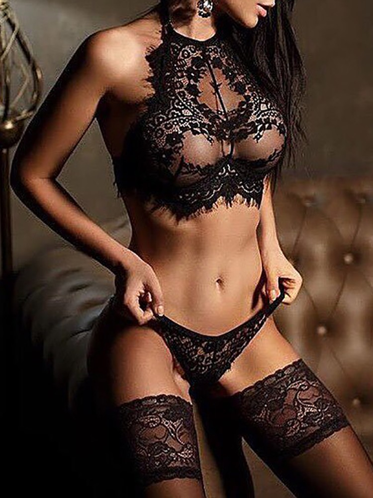 Alluring Black Eyelash Lace Trim Lingerie Sets Online. Discover ... 50d970fc1