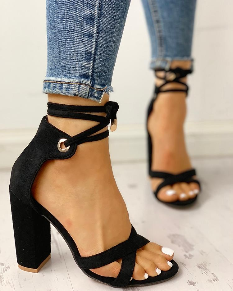 Black Strappy Chunky Heels