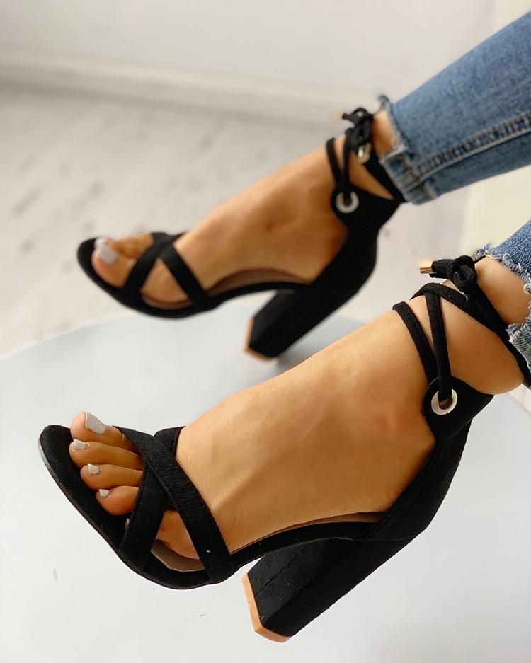 c70241163b Suede Crisscross Strappy Chunky Heeled Sandals
