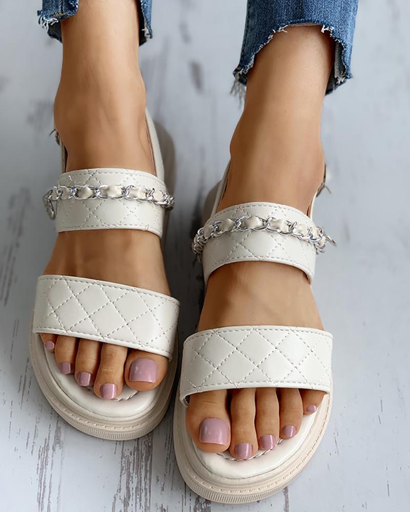 Chain Detail Slingback Platform Sandals thumbnail