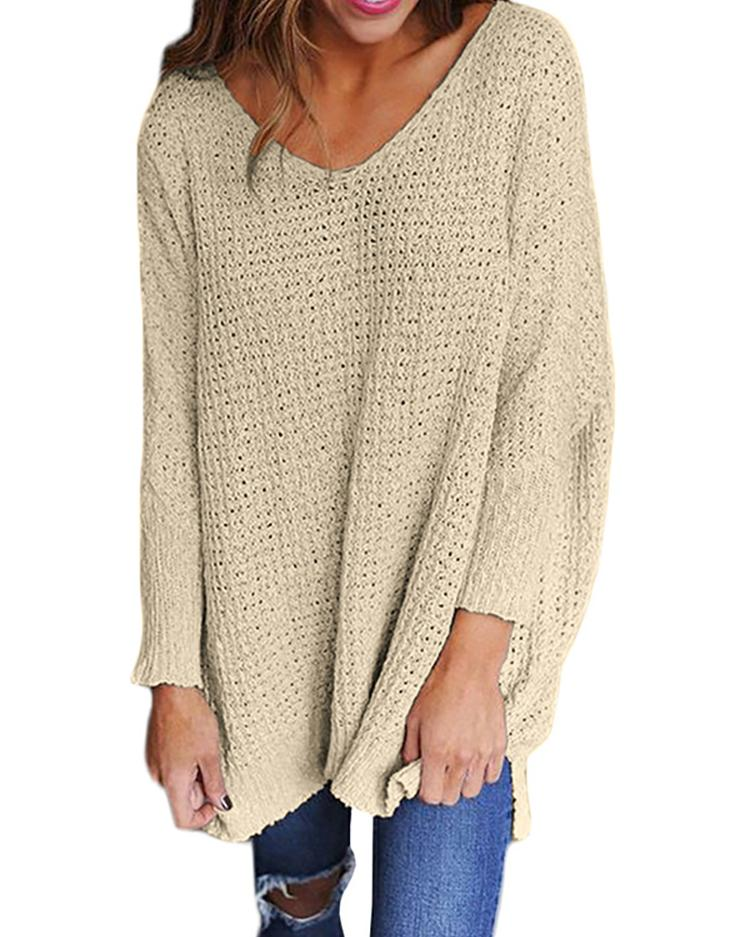 Joyshoetique coupon: Solid V Neck Loose Knitted Sweater - Beige