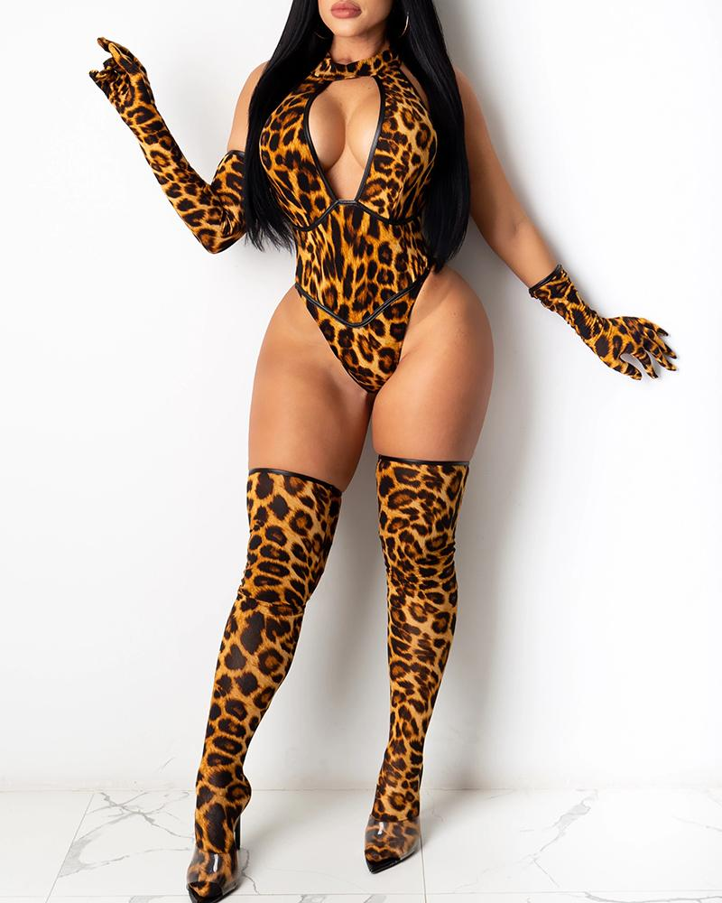 Cheetah Print Cutout Front Bodysuit