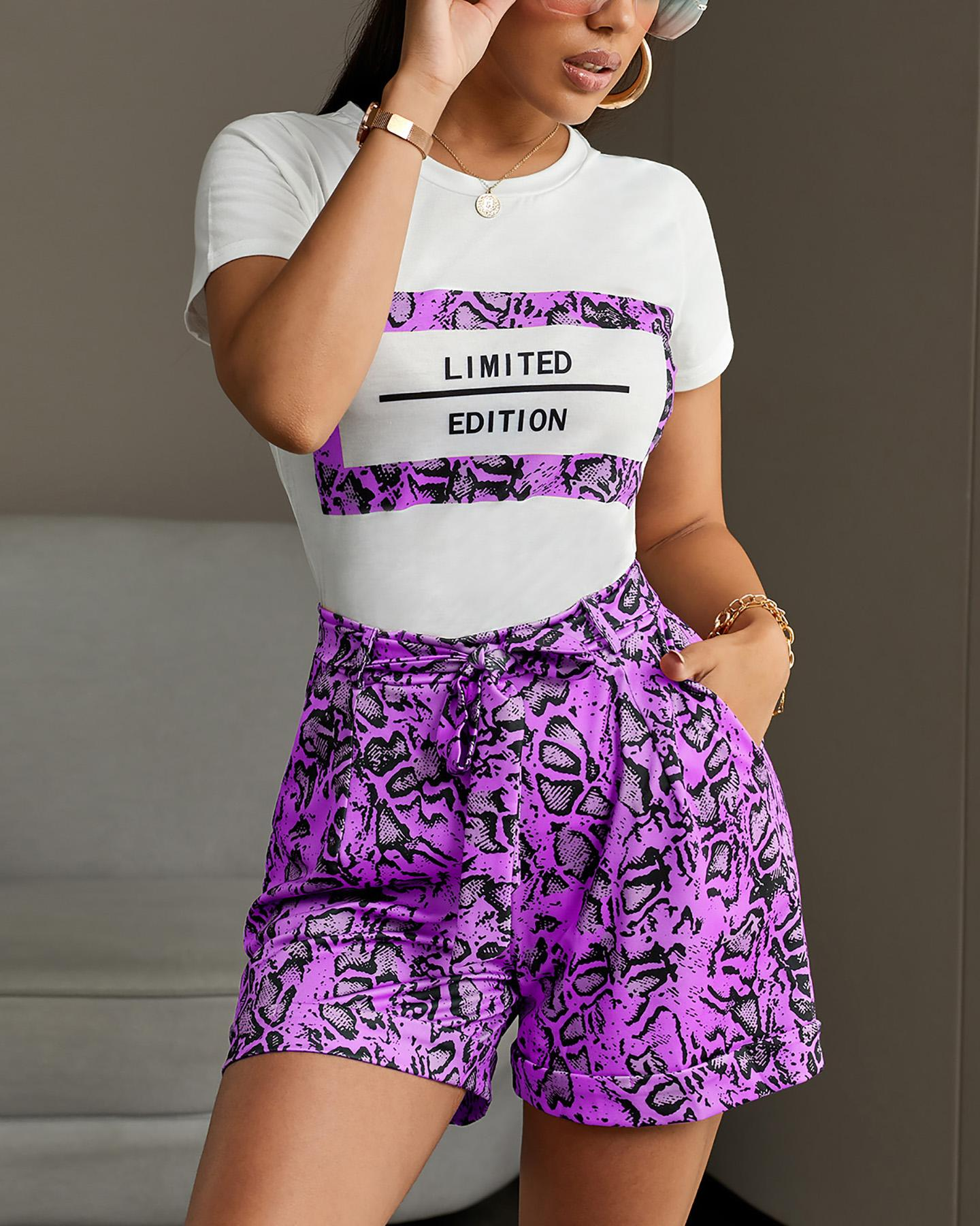 Letter Short Sleeve Tee With Snakeskin Shorts Sets thumbnail