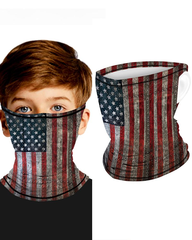 Flag Print Breathable Ear Loop Face Bandana Headwrap For Children thumbnail