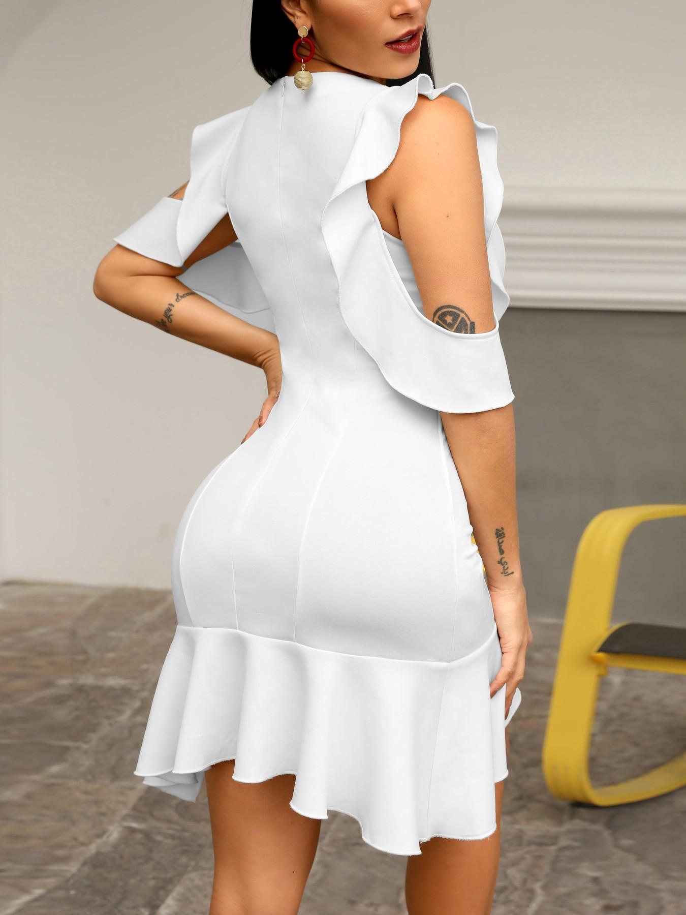 boutiquefeel / Ruffles Cold Shoulder Pep Hem Bodycon Dress