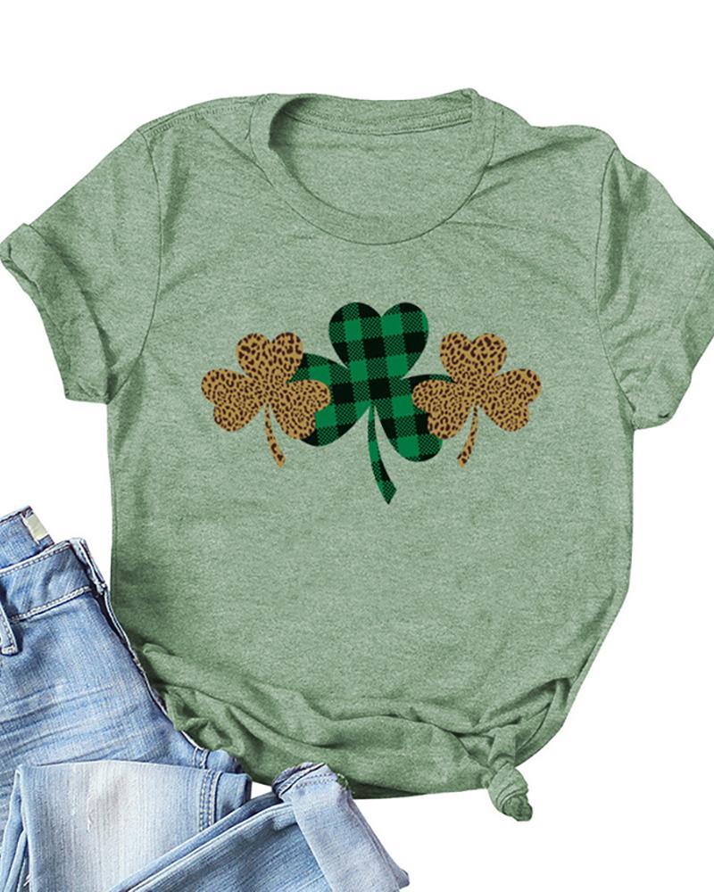 St.Patrick's Day Clover Print Round Neck T-Shirt
