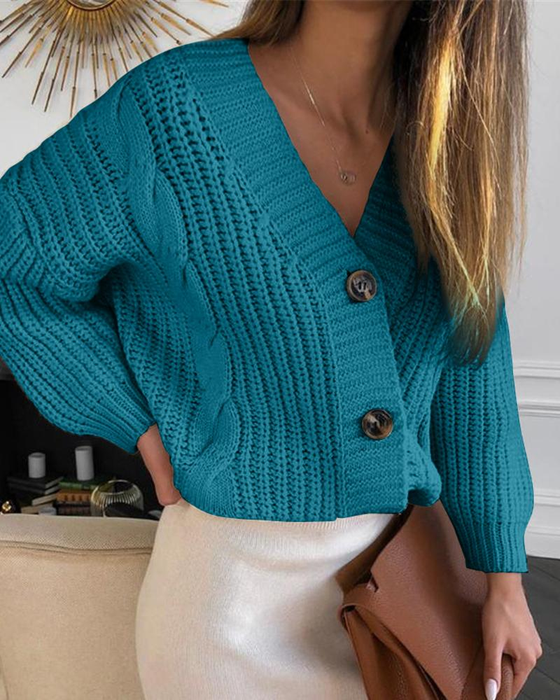 Solid Button Design Lantern Sleeve Knit Sweater thumbnail