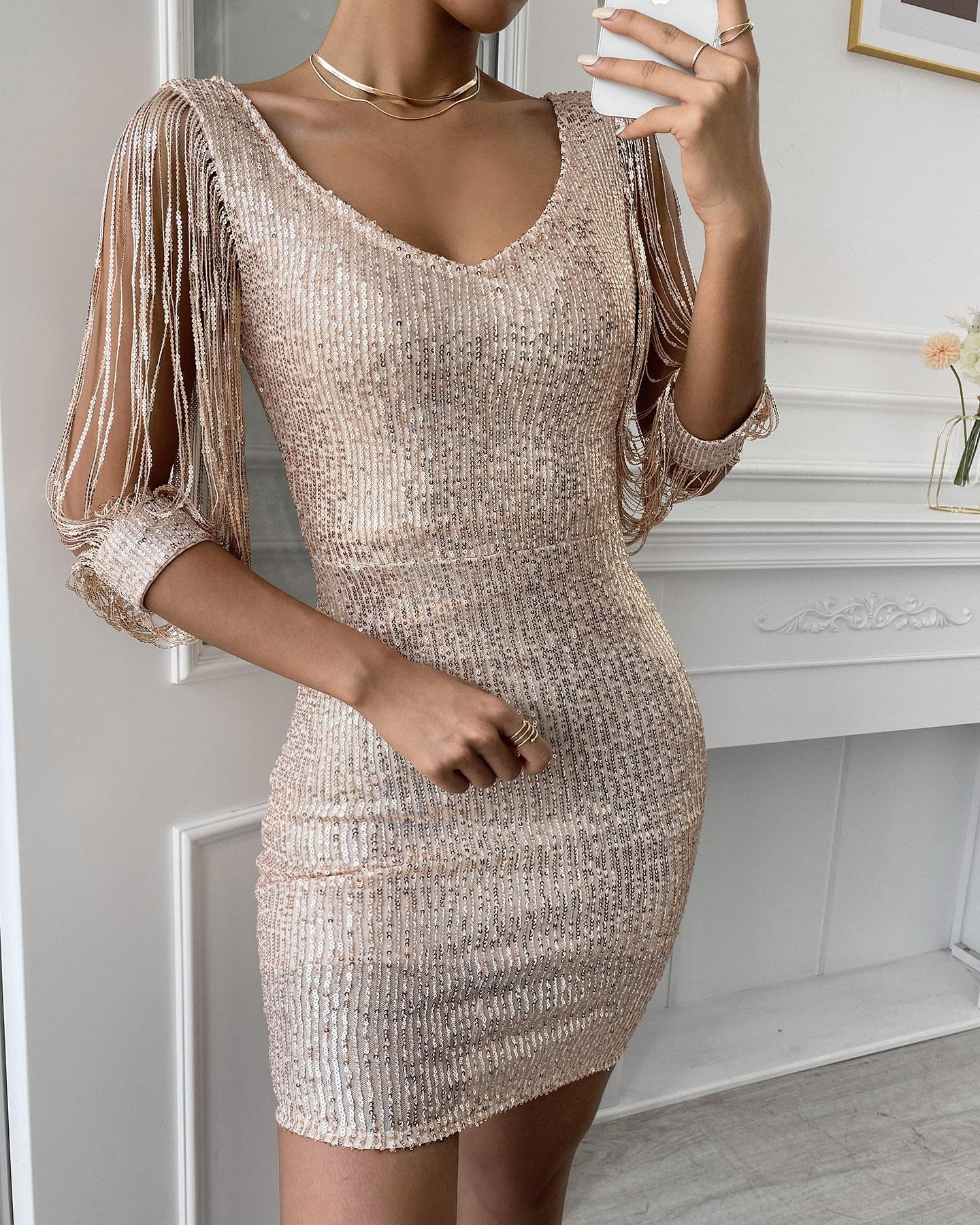 Tassels Detail Slit Sleeve Sequin Party Dress thumbnail