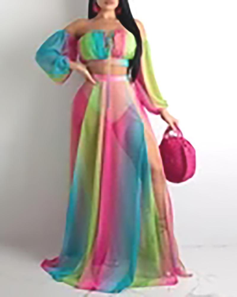 Colorblock Off Shoulder Crop Top & Maxi Skirt Set, Multicolor
