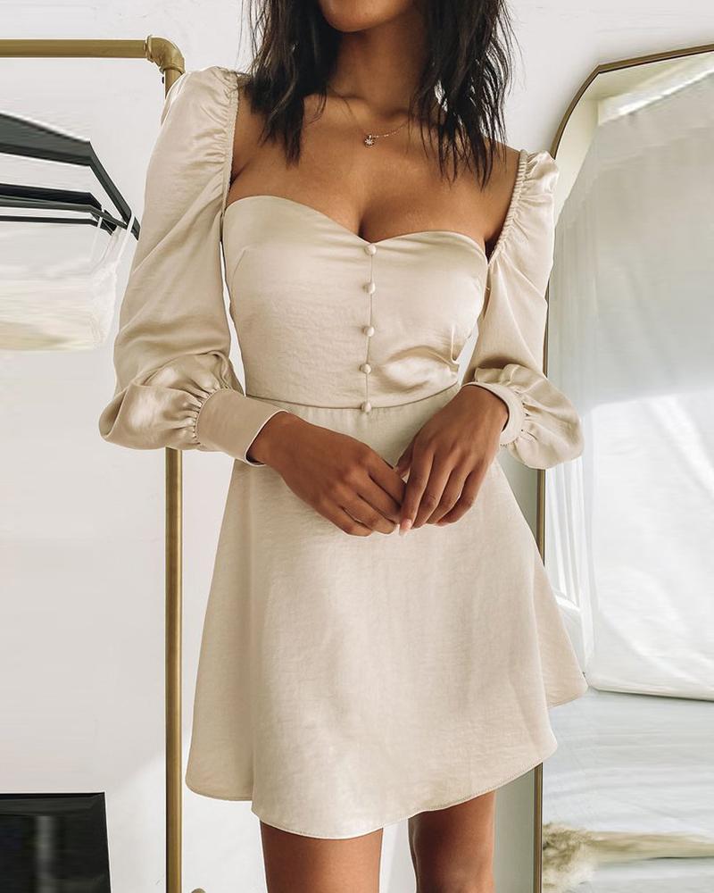 Lantern Sleeve Button Front Satin Bodycon Dress thumbnail
