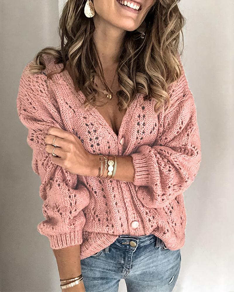 Open Front Long Sleeve Hollow Out Knitting Top thumbnail