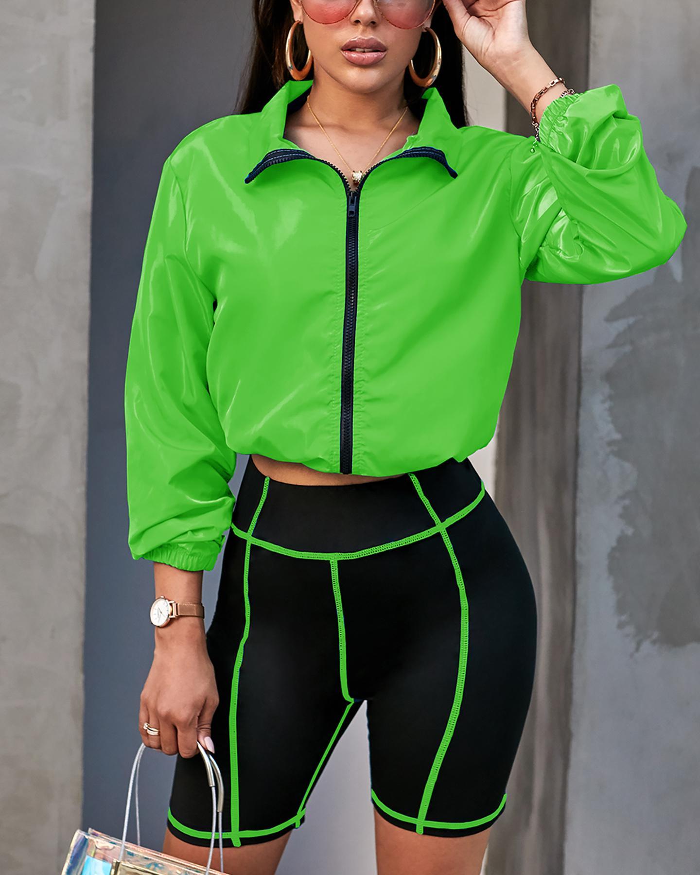 Zipper Sporty Coat & Contrast Piping Short Set thumbnail