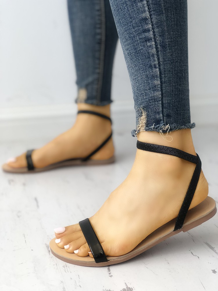 boutiquefeel / Solid Open Toe Single Strap Flat Sandals