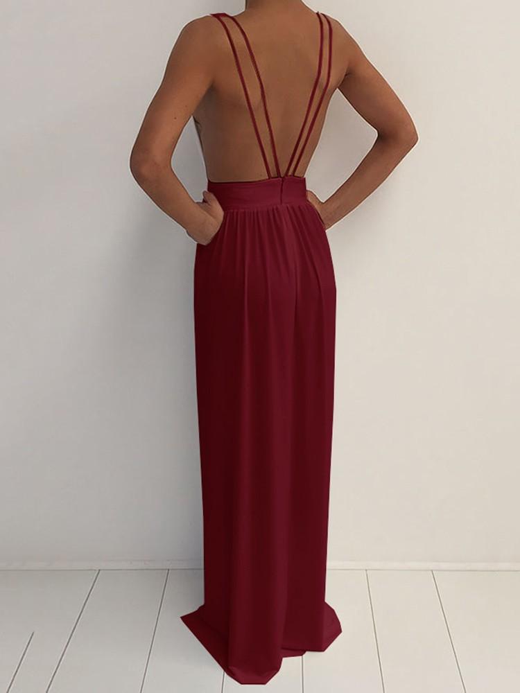 boutiquefeel / Deep V Neck Strappy Open Back High Slit Maxi Dress